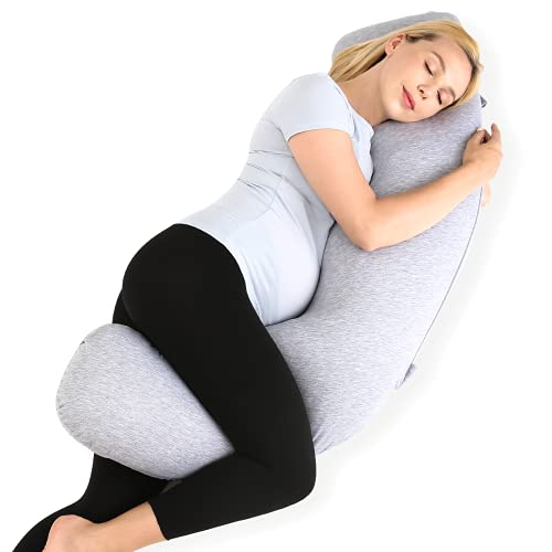 Momcozy Pregnancy Pillow for Body Support, J Shaped Maternity Pillow with Removable Jersey Cover, Soft Pregnancy Body Pillow for Side Sleeping Head Neck Belly Support, Grey