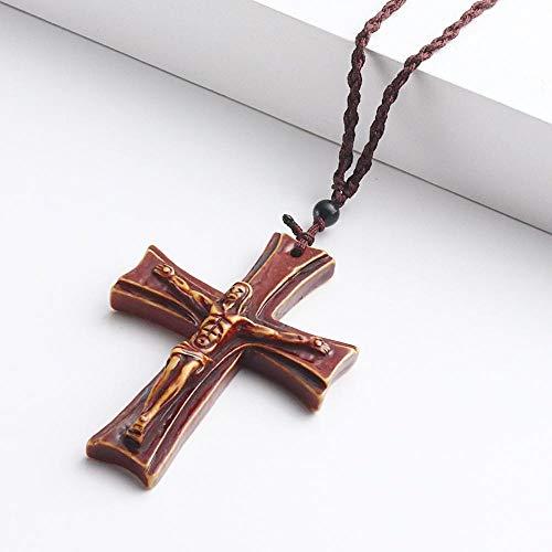 Naswi Collares De Jesús Crucifijo Católico para Hombre, Collares con Colgante De Cruz Acrílica Roja para Mujer, Cadenas De Cuerda Ajustables, Collar, Joyería