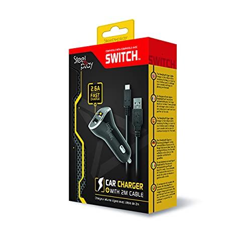 Steelplay - Chargeur Voiture Allume-cigare, compatible avec Nintendo Switch, 2 Ports Usb, charge rapide, Câble De Recharge 2 Mètres