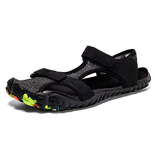 Gaatpot Strandsandalen Herren Damen rutschfest Barfußschuhe Sommer Outdoor Strand Wanderschuhe Wasserschuhe Trekking Wandern Schuhe Schwarz 39 EU