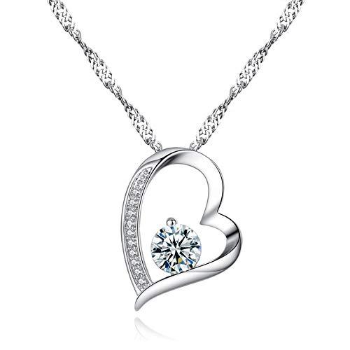 Collana da donna con pendente a cuore Placcata in argento con zircone cubico