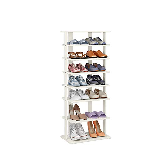 HOME BI 7-Tier Wood Shoe Rack, Double Rows 7-Tier Shoe Shelf,Shoe Storage Stand, Entryway Shoe Tower, Vertical Shoe Organizer Perfect for Narrow Closet, Entryway, Hallway, Bedroom (Large, White)