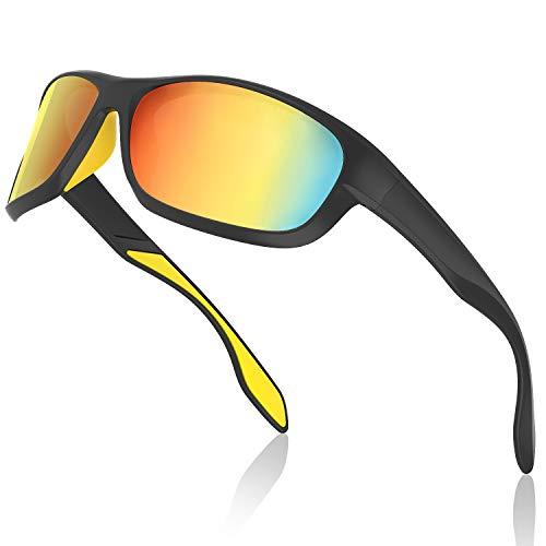 Avoalre Sportsonnebrille Sportbrille Verspiegelte Fahrradbrille Winddicht Sportsonnenbrille Polarisierte Sonnenbrille Herren, Fahrerbrille Skibrille Snowboard Brille Verspiegelt Schneebrille-Gold
