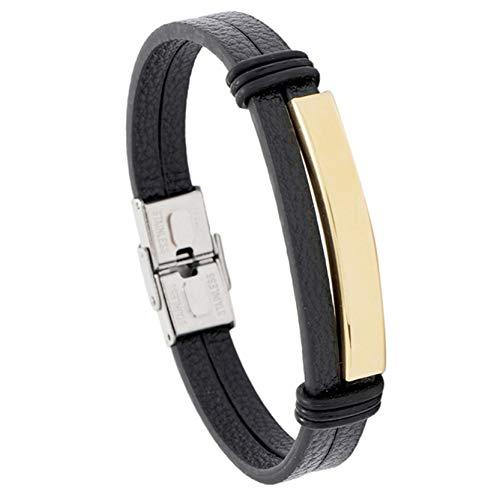EMFGJ Pulsera para hombre, de piel sintética, trenzada, de acero inoxidable, de color negro, ideal como regalo para hombres, de piel negra y dorada.