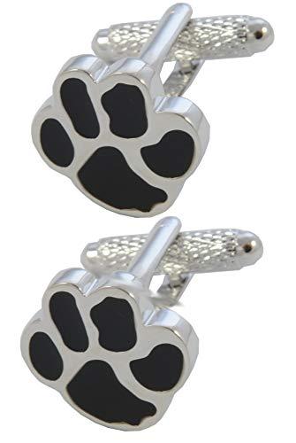 COLLAR AND CUFFS LONDON - Gemelos Caja DE Regalo - Impresión de la Pata - Animal Perro Gato Veterinario - Latón - Color Negro y Plata