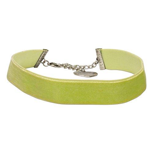 Alpenflüstern Trachten-Samt-Kropfband breit - Trachtenkette enganliegend, Kropfkette elastisch, eleganter Damen-Trachtenschmuck, Samtkropfband hell-grün DHK199