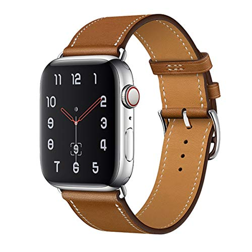 MroTech Cinturino Compatibile per iWatch 44 mm 42 mm Cinturini 42mm 44mm Watch Band Serie 5 4 3 2 1 Bracciale da Polso di Ricambio in Vera Pelle per Uomo Donna Single Loop Marrone con Fibbia Argento