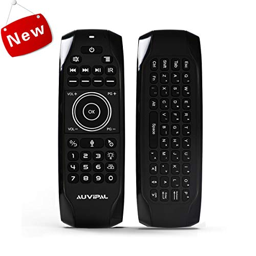 AuviPal G9 Pro Backlit 2.4GHz Wireless Air Mouse Remote with Google Voice Assistant, QWERTY Keyboard, 5 Programmable Keys and Build-in Rechargeable Battery for Android TV Box