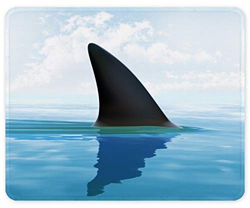 Auhoahsil Mouse Pad, Square Shark Theme Anti-Slip Rubber Mousepad with Durable Stitched Edges for Gaming Office Laptop Computer PC Men Women Kids, 11.8' x 9.8', Customized Scary Sneaking Shark Design