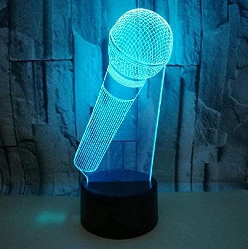 Micrófono Modelo 3D Luz de noche Luz LED 7/16 Cambio de color Control remoto táctil Niños Vacaciones Cumpleaños Regalo especial Decoración de dormitorio