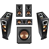 Klipsch 2 Pack R-26FA Dolby Atmos Speaker - Bundle with R-41M Bookshelf Home Speakers, R-25C Center Channel, R-12SWi 12-inch Wireless Subwoofer