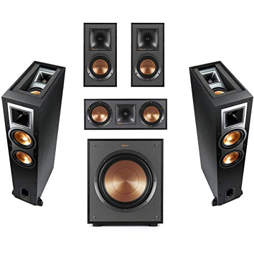 Klipsch 2 Pack R-26FA Dolby Atmos Speaker - BundleWith R-41M Bookshelf Home Speakers, R-52C Center Channel Home Speaker, R-12SWi 12-inch Wireless Subwoofer