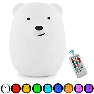 Night Lights for Kids, Remote Control and Tap Control Night Light with Soft Silicone Cute Owl Rechargeable 9-Color Dimmable Night Light for Nursery, Bedroom, Living Room