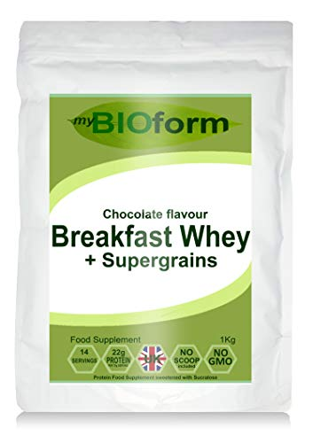 Breakfast Whey Protein Powder + Supergrains - Chocolate Flavour - 1kg Pouch - 22g Protein per Serving - myBIOform - Made in The UK