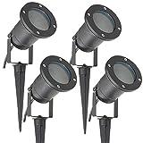 Long Life Lamp Company Lot de 4 Éclairage extérieur à piquer - Spot GU10 IP65 Noir mat