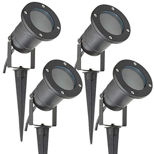 Long Life Lamp Company SPBLK04 - Bombilla IP65 exteriores para jardín o pared, casquillo GU10, 4 unidades, color negro mate, halógena, eléctrica con cable