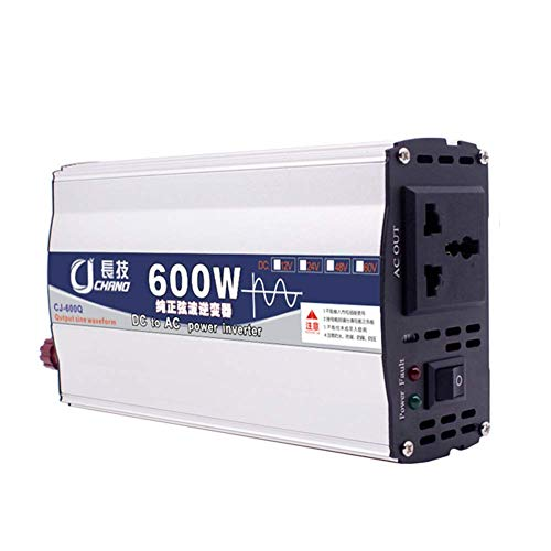 GCDN 600W 1000W Inversor de energía de Onda sinusoidal Pura DC 12V 24V a CA 220V con Puerto USB Inteligente Integrado Adaptador de Coche práctico(24V 600W)