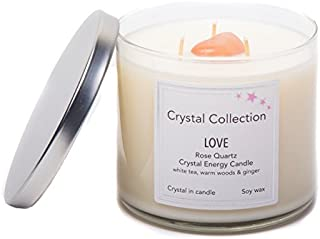 Rose Quartz Crystal - LOVE - Energy Candle - Jumbo 18 Ounce 3 Wick
