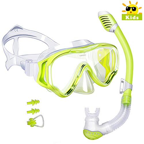 Powsure Kids Snorkel Set Dry Top Seaview Snorkel Mask for Children, Boys, Girls,Youth, Big Eyes Anti-Fog Coated Glass Snorkeling Mask, Easybreath with Silicon Mouth Piece for Swimming, Diving(Yellow)