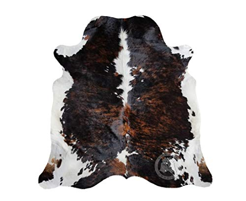 Brindle Dark Tricolor Cowhide Rug Large Approx 5ft x 7ft 150cm x 210cm from Luxury COWHIDES