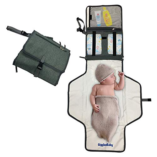 GiggleeBaby Portable Baby Diaper Changing Pad Mat- Portable Travel Baby Diaper Changing Pad Station Bag/Clutch with Head Pillow, Best Baby Shower Gift/Car Accessory for Newborn Boy/Girl, XL, Gray