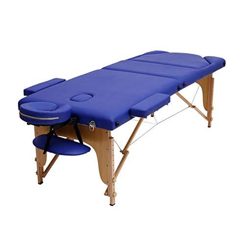 Draagbaar Massage Bed Verstelbaar Houten Vouwbed met Handtas Schoonheidsmassage Bed Blue Color