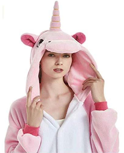 JXUFUFOO Erwachsene Jumpsuit Schlafanzug Einhorn Tierkostüm für Halloween Karneval Fasching Herren Damen,Rosa,XL(Höhe 1,78m-1,91m)