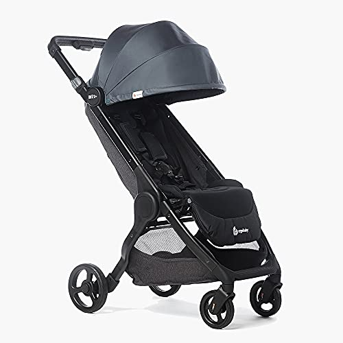 Ergobaby Metro+ Compact Baby Stroller, Lightweight Umbrella Stroller Folds Down for Overhead Airplane Storage (Carries up to 50 lbs), Car Seat Compatible, Slate Grey