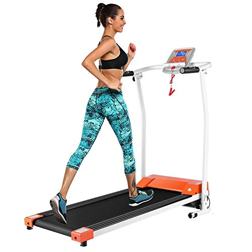 OppsDecor Treadmill for Home Electric Folding Treadmill Running Machine Fitness Exercise Machine with LCD Display for Home Gym Office (Orange)