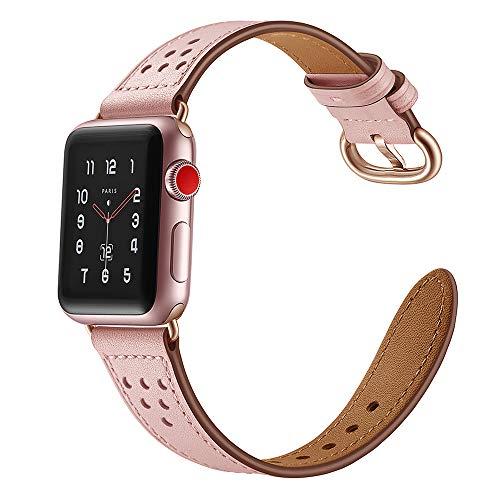 Dee Plus kompatibel für Apple Watch Armband 38mm/ 42mm Lederband,iWatch Uhrenband Perfektes Lederarmband passt Für Apple Watch Armband Ersatzarmbänder für Damen&Herren Series 1 2 3 4,Mit Schutzfolie
