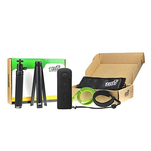 eeekit 5in1Starter Kit di accessori per Ricoh Theta S, Selfie Stick, Mini treppiede, Securiy cinturino da polso, cover in silicone w/copriobiettivo, Micro HDMI a HDMI cavo (Nero)