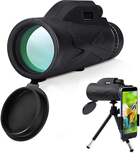 Monocular HD de alta potencia 80 x 100 con soporte para teléfono inteligente y trípode Monocular impermeable para observación de aves, viajes, camping, caza, senderismo, telescopio monocular estelar