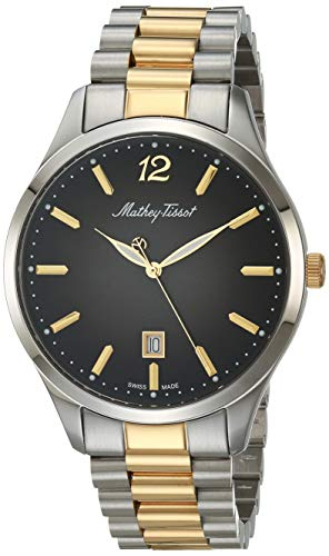 MATTHEY-TISSOT Correa de acero inoxidable de cuarzo para hombre, multicolor, 20 reloj casual (Modelo: H411MBN)