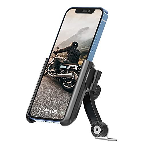 Tiakia Motorrad Handyhalterung Universal für 3,5-7 Zoll Smartphone Huawei Samsung GPS, Handyhalter Motorrad für Motorräder und Motorroller 360°Drehbarem【Schnelle Installation in 1 Sekunde】