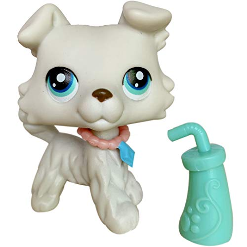 LovePets lps Collie 363, lps Collie Dog Gray with Blue Eyes with lps Accessories Collar - 2 inch Figure