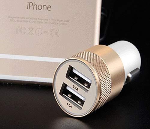 Shot Case dubbele adapter voor sigarettenaansteker, USB, voor Huawei P10 Lite smartphone, 2 poorten, universele oplader, goudkleurig