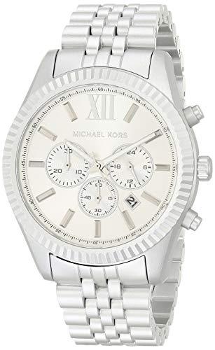 Michael Kors Men's Quartz Watch with Metal Strap, Silver, 22 (Model: MK8789)