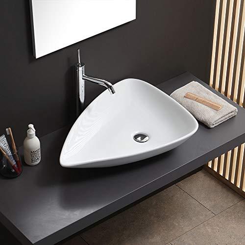 Lavabo de apoyo, forma ovalada, de cerámica, diseño moderno