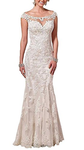 Baixia Meerjungfrau Spitze Kristall Hochzeitskleid Trompete Brautkleid Elfenbein 42