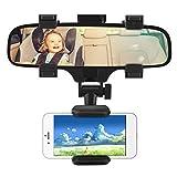 Soporte de montaje del espejo retrovisor del coche para GPS del teléfono inteligente, Soporte de montaje universal para teléfono móvil del vehículo Soporte del clip del espejo retrovisor