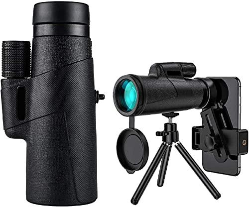 El más nuevo telescopio monocular impermeable con trípode y adaptador de smartphone, HD 12x50 monocular de alta definición para objetivo tiroteo pájaro