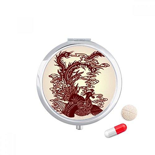 DIYthinker Chinese Phoenix Vogel Dier Portret Reizen Pocket Pill case Medicine Drug Storage Box Dispenser Spiegel Gift