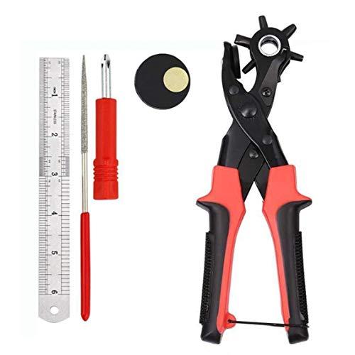 hvxjxk Locher Gürtel Puncher, Heavy Duty-Zangen-Werkzeug Revolving mit 2 Extra-Teller und Lineal, Multi Sized für Handwerk, Karte, Gummi