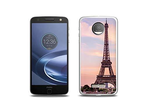 etuo Handyhülle für Lenovo Moto Z Force - Hülle, Silikon, Gummi Schutzhülle - Eiffelturm in Paris