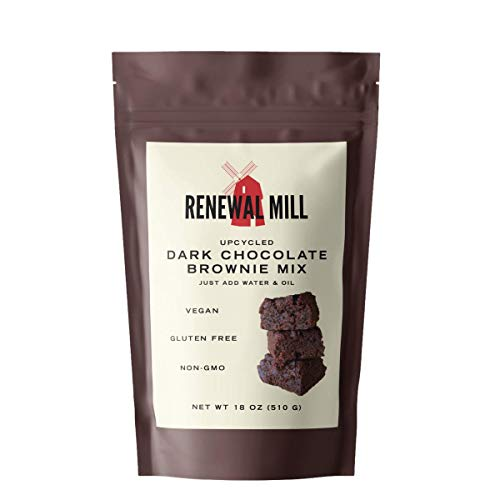 Renewal Mill Dark Chocolate Brownie Mix 18 oz, Gluten-Free, Vegan, Non-GMO, Upcycled Ingredients I Easy to Make in One Bowl, Only Requires Oil and Water, Kid-Friendly | Packaging May Vary