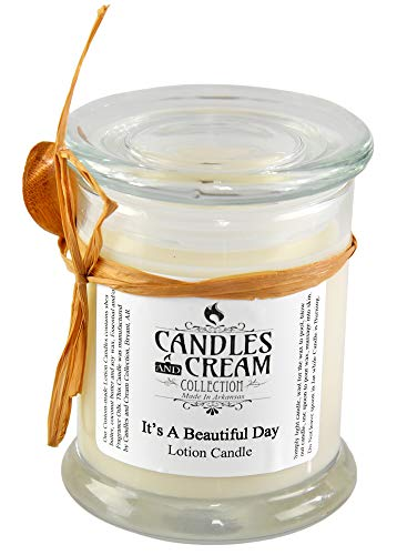 Candles and Cream It's A Beautiful Day Lotion Candle with Bamboo Spoon, Fresh Lotion Candle, Long-Lasting and Organic, 12oz