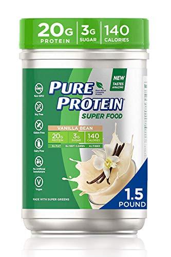 Pure Protein Super food vanilla bean protein powder 1.5 pound, 1.5 Pound
