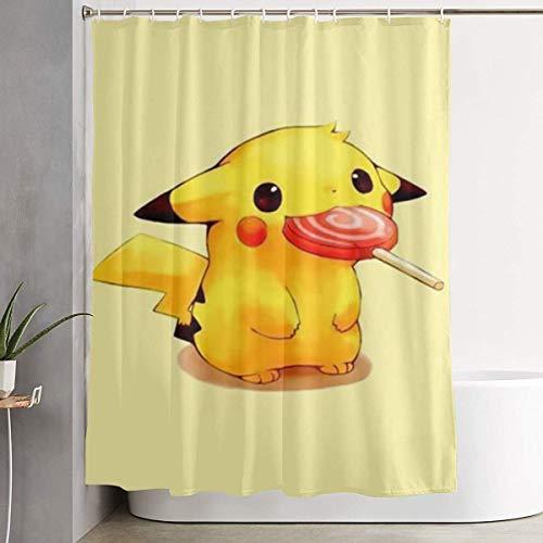Sabalone Duschvorhang Pikachu mit Süßigkeiten Kunstdruck, Polyester Bad Dekorationen Kollektion mit Haken 60X72 Zoll