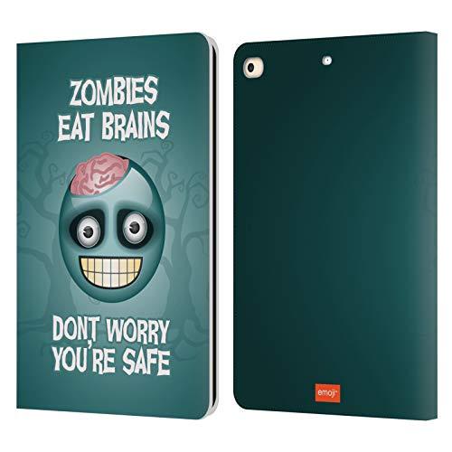 Head Case Designs Licenciado Oficialmente Emoji® Cerebros Zombie Parodias de Halloween Carcasa de Cuero Tipo Libro Compatible con Apple iPad 9.7 2017 / iPad 9.7 2018