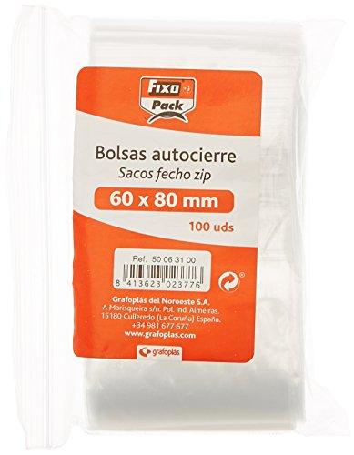 Fixo Pack 50063100-Pack de 100 bolsas autocierre, 60 x 80
